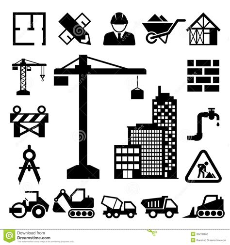 Cement House Plans construction icons set stock photography image 35278872