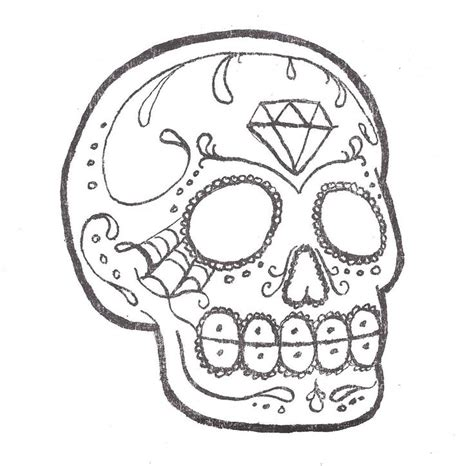 sugar skull outline sugar skull tattoo a photo on