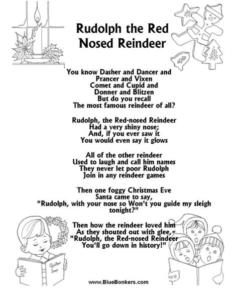 Printable Lyrics To Rudolph The Red Nosed Reindeer | reindeer lyrics and christmas on pinterest