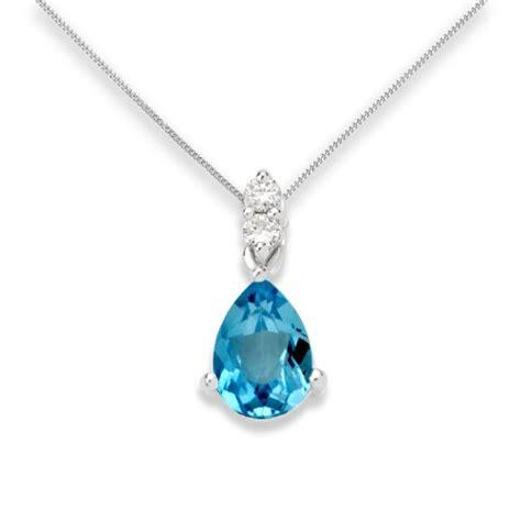 Soldes Miore   Collier Femme   Or blanc 375/1000 (9 carats) 0.98 gr   Topaze bleue et Diamants 0