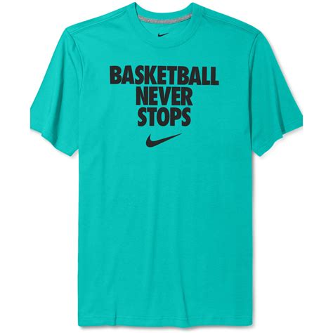 T Shirt 6 0 Nike Blue lyst nike never stops basketball tshirt in blue for