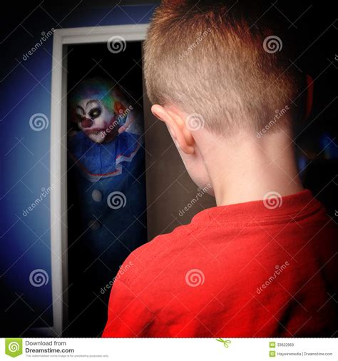 scary clown in bedroom scary monster clown in boys closet stock image image