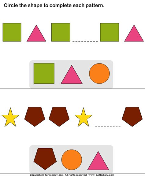 pattern questions for kindergarten complete the missing pattern turtlediary com