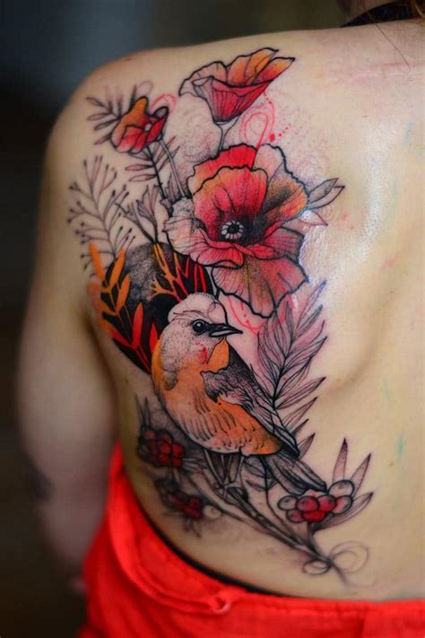 tattooed animals animal tattoos add bright pops of color to sketch like