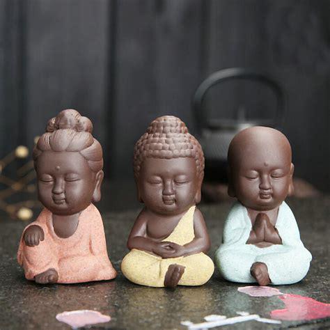 15 Pcs Figurine Babies 1 pc new small buddha statue monk figurine india mandala tea ceramic crafts home decorative