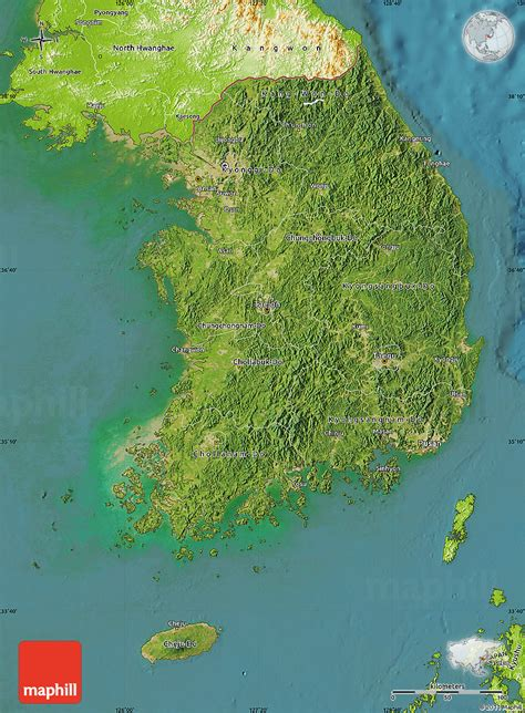 korea physical map satellite map of south korea physical outside satellite sea