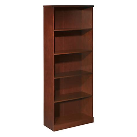 officemax premium mahogany 5 shelf bookcase by office