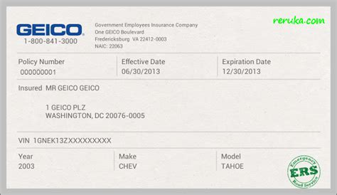 Fake Geico Insurance Card Template   europaludi.com