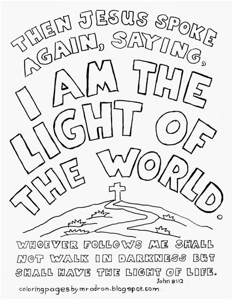 coloring page for light of the world coloring pages for kids by mr adron i am the light of