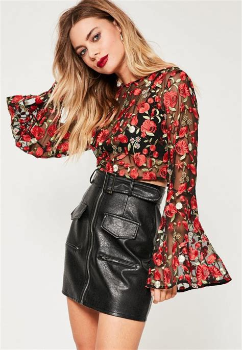 Bell Sleeve Floral Top floral mesh embroidered bell sleeve crop top missguided
