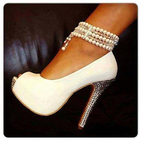 white ankle high heels white peep toe pearl ankle high heel shoes