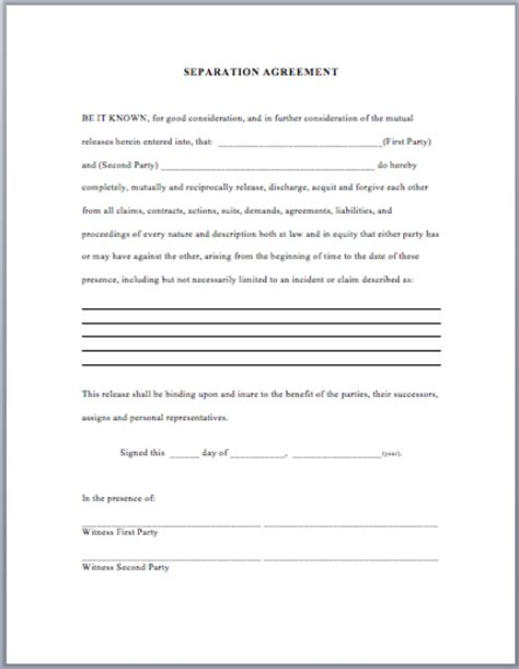 separation template separation agreement template business templates