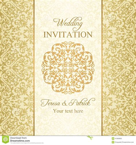 Wedding Invitation Gold Background by Baroque Wedding Invitation Gold Stock Illustration