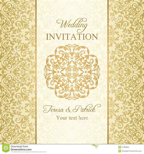 wedding invitation background designs gold baroque wedding invitation gold stock illustration