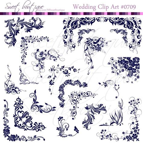 Navy Wedding Clipart by Navy Blue Digital Frames Clip Corners Scroll