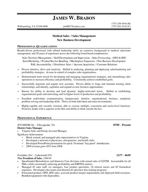 Resume Sles For A Healthcare Sales Resume Sle Free Resumes Tips