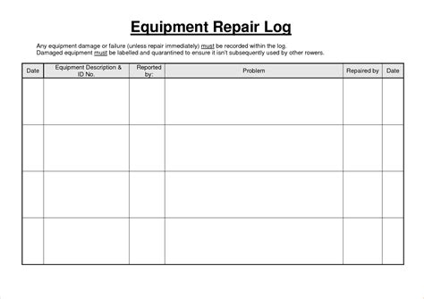 machine maintenance log template 5 equipment maintenance log procedure template sle