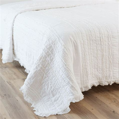 Quilted Cotton Bedspreads by Annelise Cotton Quilted Bedspread In White 240 X 260cm