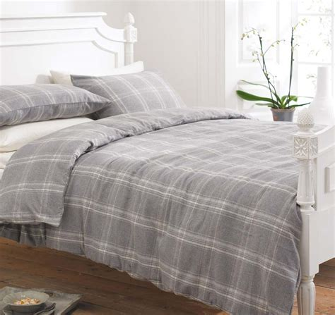 plain grey comforter grey white tartan check flannelette duvet sets or plain
