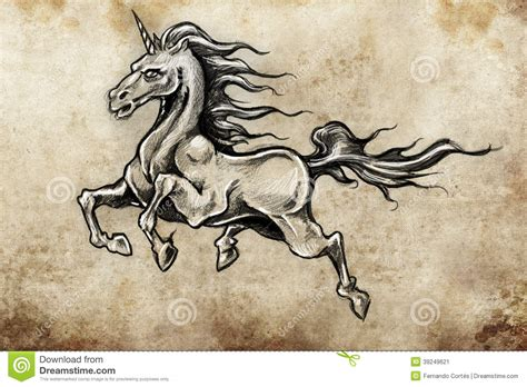 horse with wings unicorn tattoo sketch stock