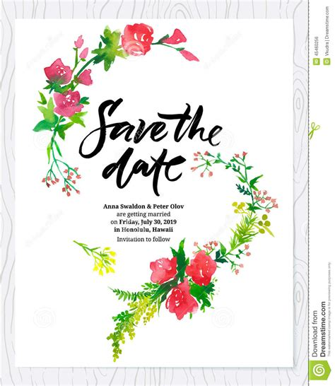 save the date wedding cards template free wedding floral watercolor card save the date stock vector