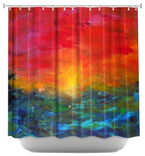 sunset curtains shower curtain artistic rainbow sunset contemporary