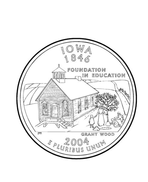 Coloring Page Quarter by Iowa State Quarter Coloring Page Coloring Pages