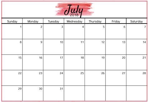 digital calendar template july calendar 2018 monthly desk template