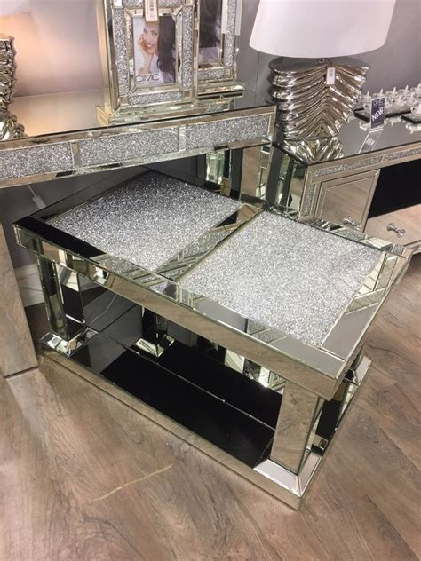 mirrored glass coffee table crushed glitz glass mirrored coffee table