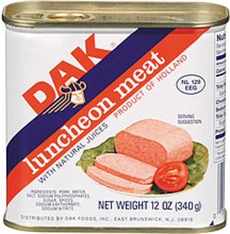 Dak Canned Ham Shelf by Dak Canned Luncheon W Juices 12 0 Oz Nutrition Information Shopwell