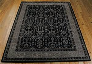 Wool Area Rugs 9x12 9x12 8 6 Quot X 11 6 Quot Nourison Regal Wool Silk Black Silver Traditional Area Rug Ebay