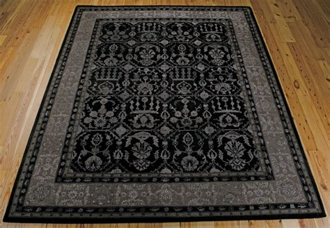 Area Rug 9x12 9x12 8 6 Quot X 11 6 Quot Nourison Regal Wool Silk Black Silver Traditional Area Rug Ebay