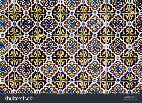 echo pattern in spanish traditional spanish ceramic tile pattern stock photo