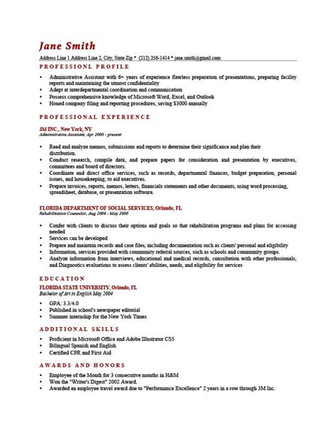 professional profile resume resume profile exles sle profile summary for resume