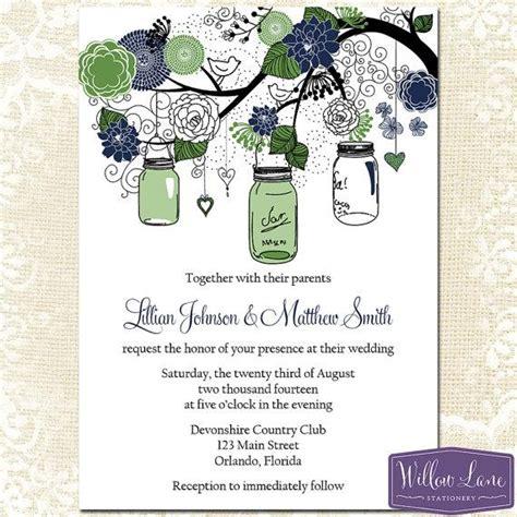 navy blue and green wedding invitations jar wedding invitation green and navy blue jar wedding invite rustic wedding