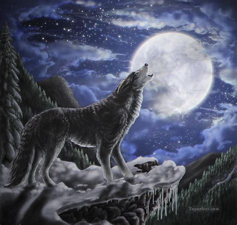 Wolf And Moon wolf moon painting in for sale