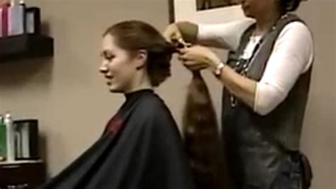 video on cutting long hair into a short shag doing it yourself haircut on redhead long to short hair cut make sure to