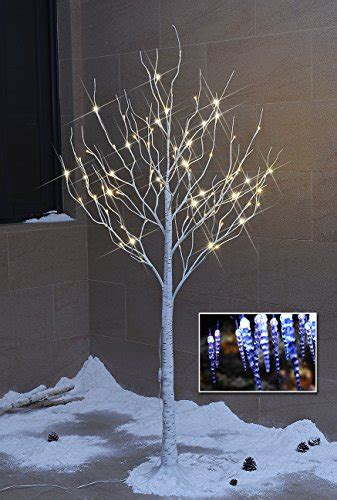 twinkling white led icicle lights lightshare new 6ft 72l led birch tree free gift 10l led