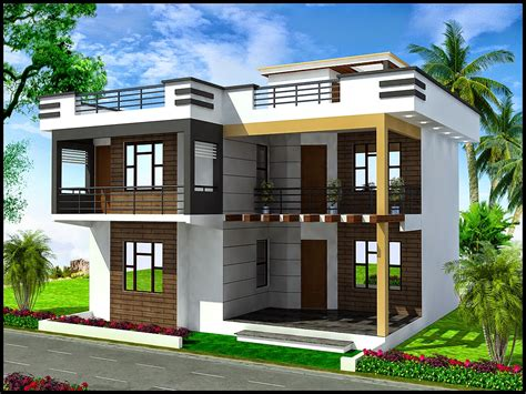 duplex house 3d front elevation apna ghar commercial plaza joy studio