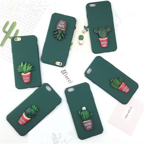 3d Plastic For Apple Iphone 5 5s Se 18 green cactus plastic phone bag for iphone apple 5 5s se 6 6s 7 plus 3d matte back