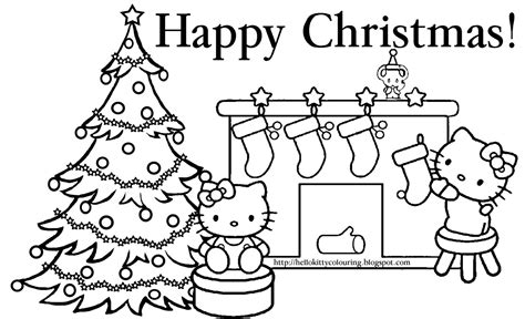 christmas kitty coloring page hello kitty coloring pages