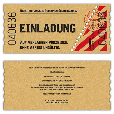 Karten Einladung by Einladung Kinokarte Zum Geburtstag Vintage Ticket