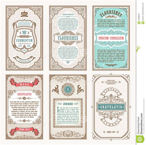Vintage Set Retro Cards Template Greeting Card Wedding Invitation Line Calligraphic Frames Vintage Card Templates