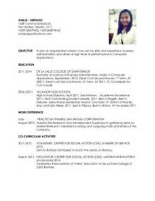 Resume Sample In Tagalog student resume sample filipino images