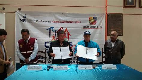 convenio de cooperacin interinstitucional entre inei y el gobierno regional de lima firmaron convenio de