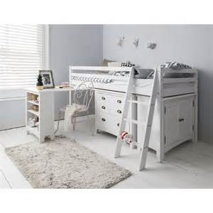 cabin beds sleep station in white with chest of drawers cabinet