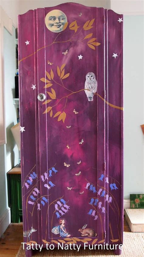 Decoupage Wardrobe - vintage wardrobe cupboard chest painted purple