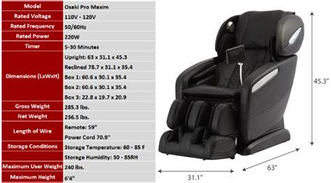 reclining chair dimensions massage chair dimensions