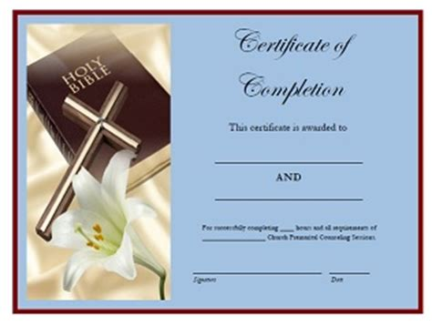 Premarital Counseling Sessions Certificate Of Completion Free Premarital Counseling Certificate Of Completion Template
