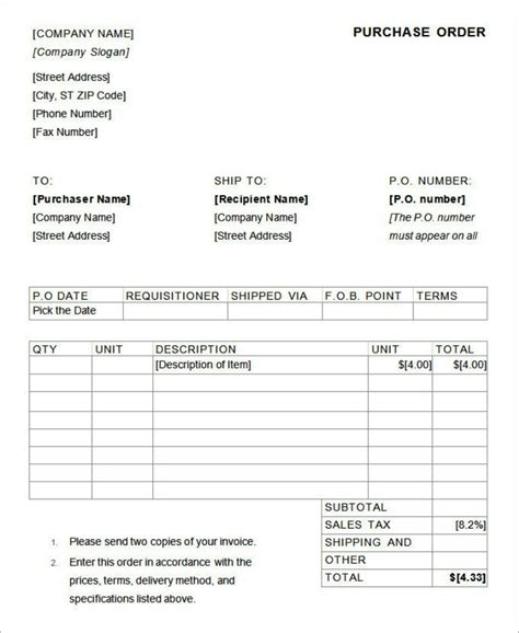 purchase order template for mac templatezet
